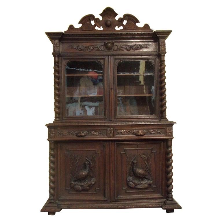 Carved Oak Bookcase / Gun Cupboard For Sale