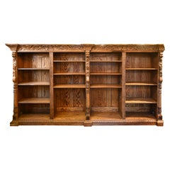 Carved Oak Bookcase with Lions and Dragons