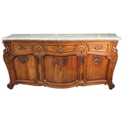 Carved Oak Bronze Mounted Marble-Top French Louis XV Sideboard Server Buffet