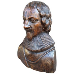 Carved Oak Bust of a Gentleman Possibly Charles I