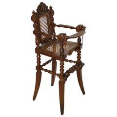 Carved Oak Child's Chair with Caning, circa 1880