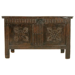 Carved Oak Coffer, Blanket Box, Trunk, Oak, Scotland 1780, Antiques, B1495