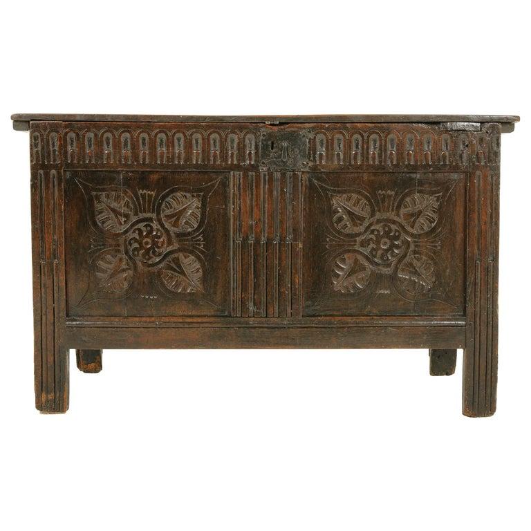 Antique Oak Coffer Blanket Box Carved