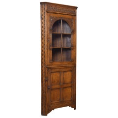 Carved Oak Corner Display Cabinet
