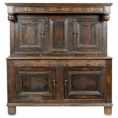 Carved Oak Court Cupboard in the Style of Furniture from the 17th Century