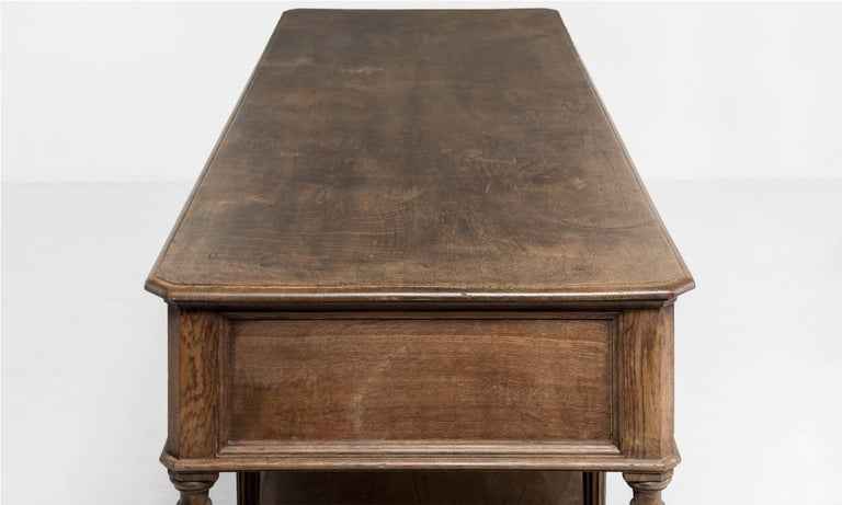 Carved Oak Drapers Table, France, circa 1890 For Sale 1