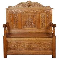 Carved Oak Hall Settle