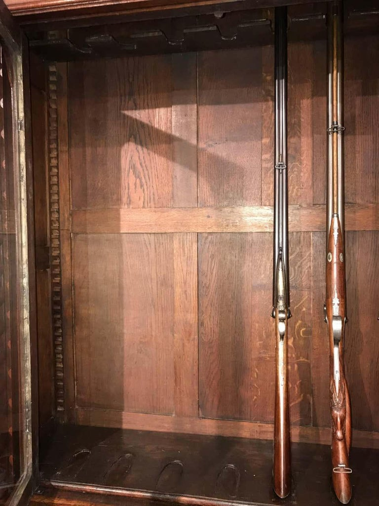 Carved Oak Hunts Bookcase Gun Cupboard, circa 1880 For Sale 6
