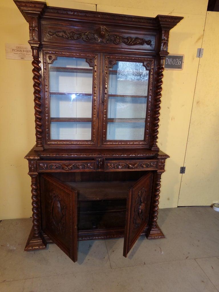 Black Forest Carved Oak Hunts Bookcase Gun Cupboard, circa 1880 For Sale