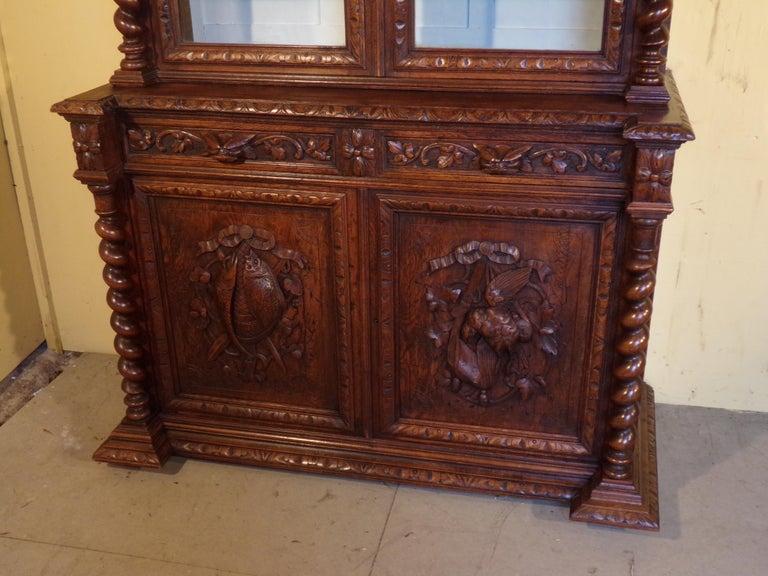 Carved Oak Hunts Bookcase Gun Cupboard, circa 1880 In Good Condition For Sale In London, GB