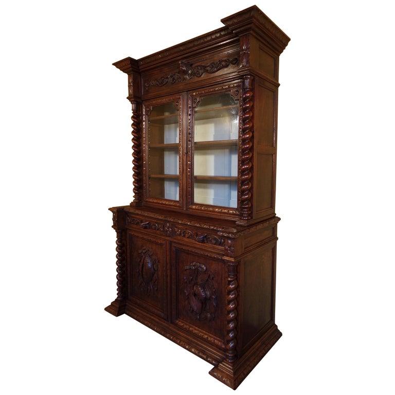 Carved Oak Hunts Bookcase Gun Cupboard, circa 1880 For Sale