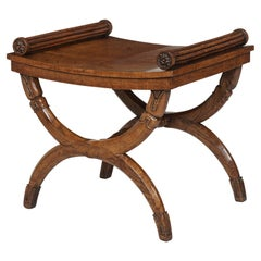 Carved Oak Regency Period X-Frame Stool Possibly by George Bullock