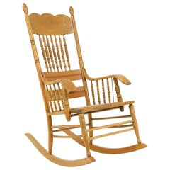 Antique Rocking Chair, Spindle Pressed Back, Carved Oak, America, 1910, Bcon2