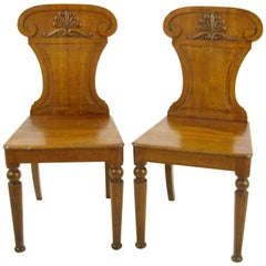 Carved Oak Side Chairs, Two Gothic Chairs, Scotland 1850, B976  REDUCED!!!
