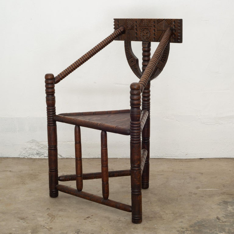About  A ornately carved solid oak monk chair from Sweden.  Contact us for more shipping options: S16 Home San Francisco  Creator: Unknown. Date of manufacture: circa 1950. Materials and techniques: Solid oak. Condition good. Wear consistent with