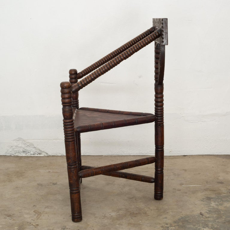 Rustic Carved Oak Swedish Monk Chair, circa 1950