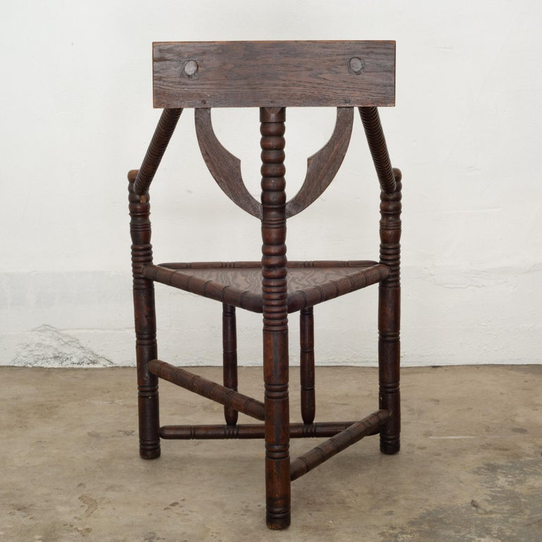 Carved Oak Swedish Monk Chair, circa 1950 In Good Condition In San Francisco, CA