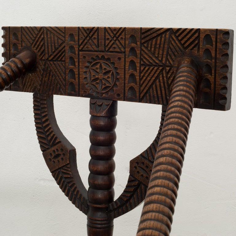 20th Century Carved Oak Swedish Monk Chair, circa 1950