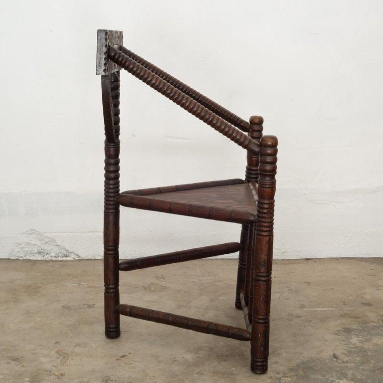 Carved Oak Swedish Monk Chair, circa 1950 1
