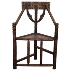 Carved Oak Swedish Monk Chair, circa 1950