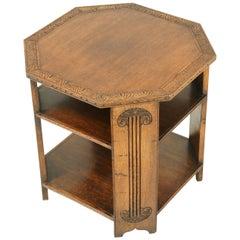 Carved Oak Table, Octagonal Table, Golden Oak, Scotland 1930, B1756