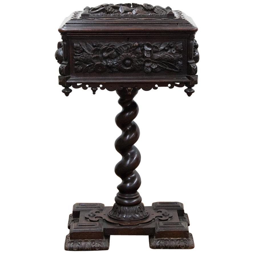 Carved Oak Tea Caddy on Pedestal Base