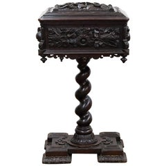 Carved Oak Tea Caddy on Pedestal Base