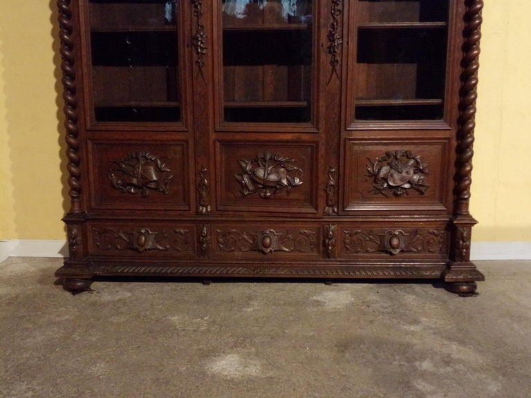 Late 19th Century Carved Oak Three Door Bookcase circa 1870 Louis XIII Style For Sale