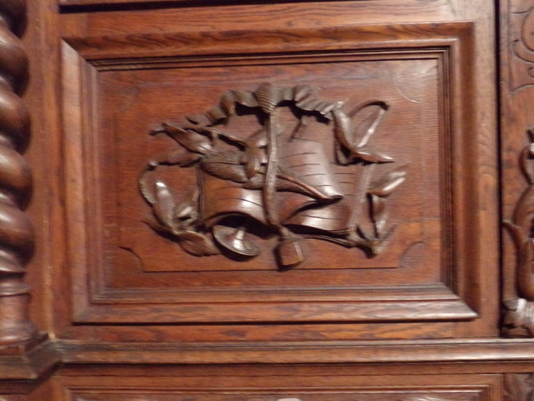 Carved Oak Three Door Bookcase circa 1870 Louis XIII Style For Sale 4