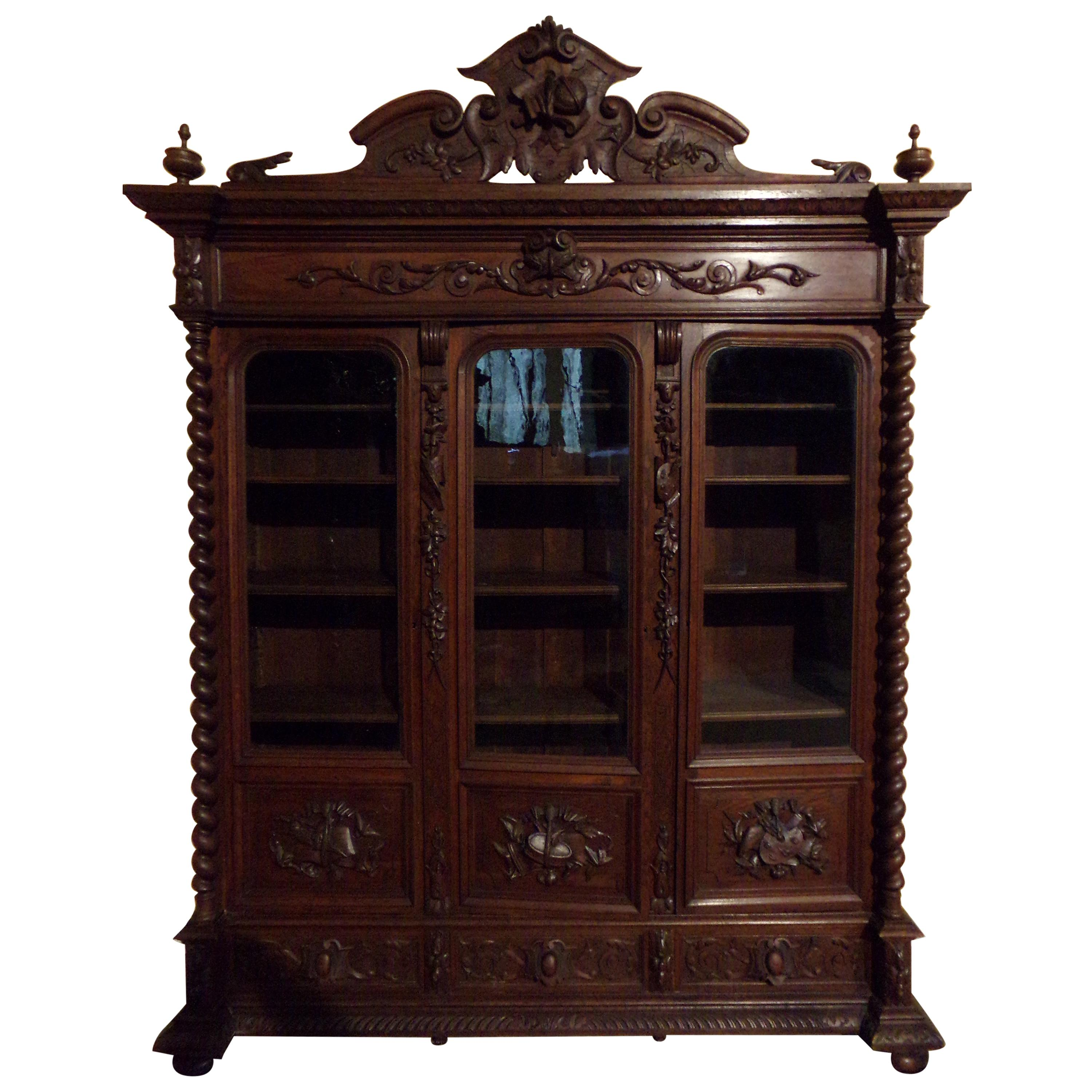 Carved Oak Three Door Bookcase circa 1870 Louis XIII Style