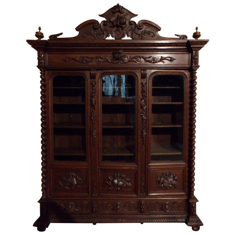 Carved Oak Three Door Bookcase circa 1870 Louis XIII Style For Sale
