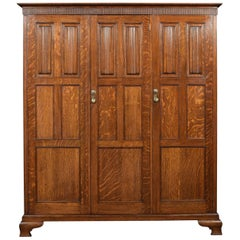 Carved Oak Three-Door Hall Robe