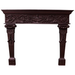 Victorian Jacobean Style Carved Oak Antique Fireplace And