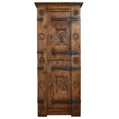 Carved Oak Two-Door Cupboard