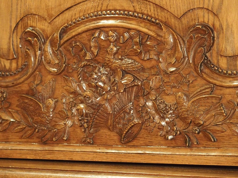 Hand-Carved Carved Oak Wedding Cabinet and Chest of Drawers from Normandy, Early 1900s For Sale