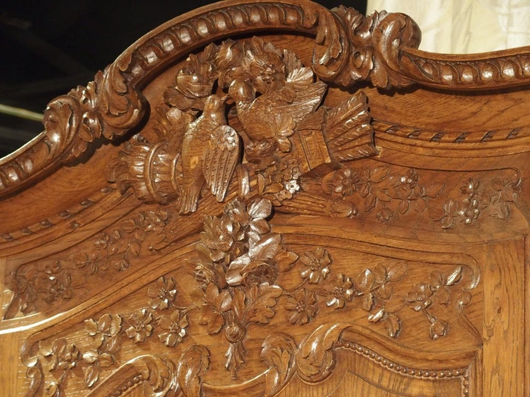 20th Century Carved Oak Wedding Cabinet and Chest of Drawers from Normandy, Early 1900s For Sale