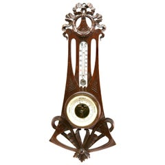 Carved Oakwood Antique French Barometer with Thermometer, 1910s