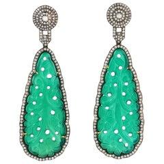 Carved Onyx Diamond Earrings