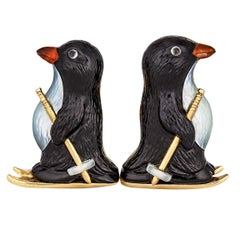 Carved Onyx, Mother of Pearl, Carnelian and Gold Skiing Penguin Cufflinks