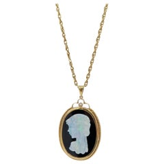 Carved Opal Cameo Diamond Onyx Pendant Yellow Gold Rope Chain