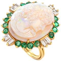 Carved Opal Diamond Emerald 18 Karat Cocktail Ring