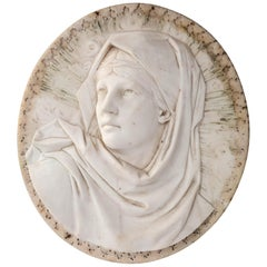 Carved Oval Marble Plaque of Weeping  Madonna