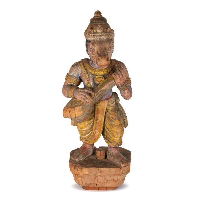 Teak Carved and Painted Indian Wood Processional Mount For Sale