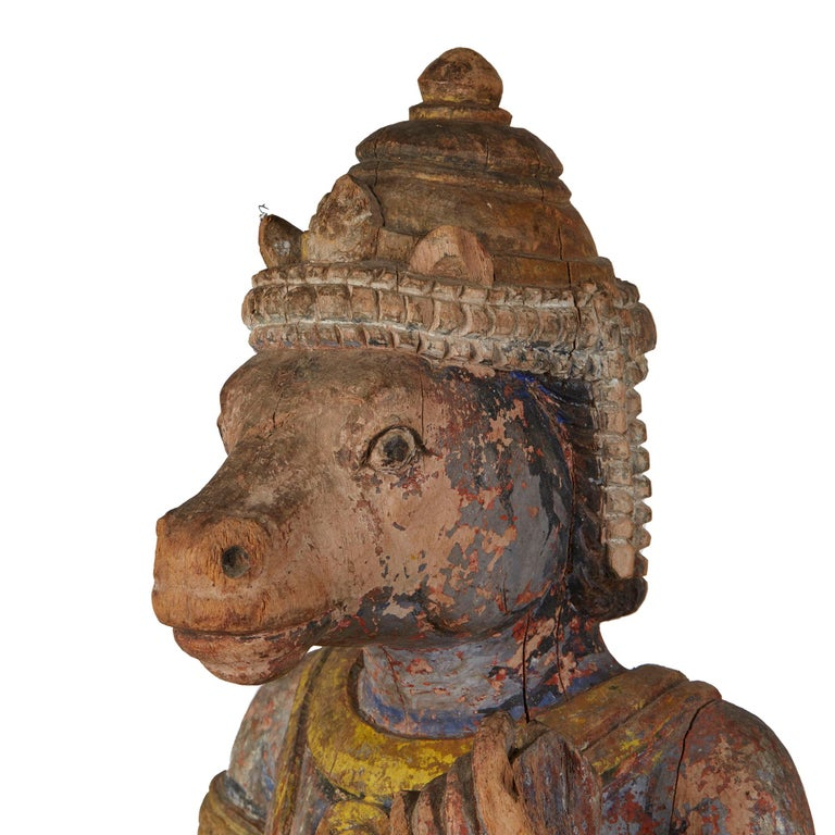 Carved and Painted Indian Wood Processional Mount For Sale 3