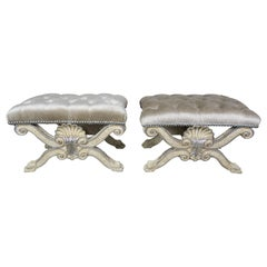 """Carved Painted and Silver Gilt """"X"""" Shell Benches w/ Platinum Velvet Upholstery"""