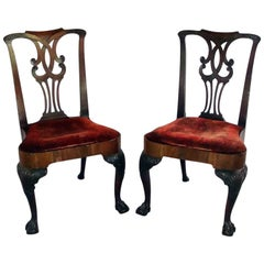 Pair carved Chippendale period side chairs