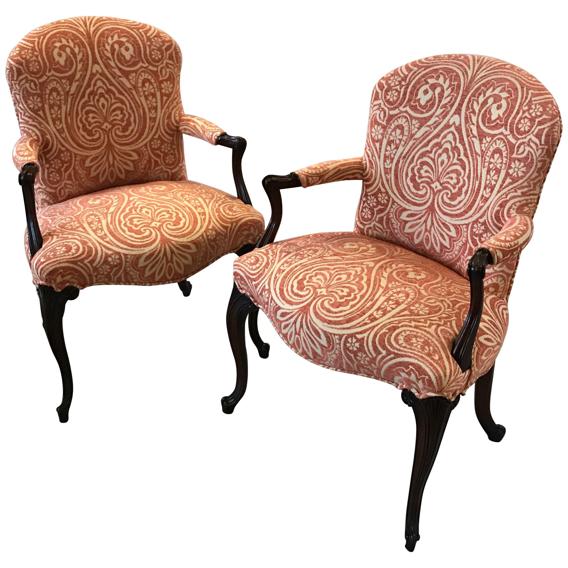 Accent Chairs Sold In Pairs.Carved Pair Of Mahogany Accent Chairs