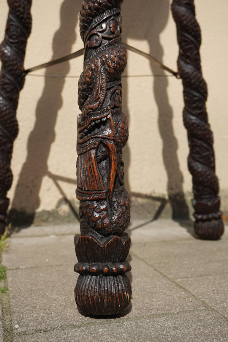 Carved Pedestal Table, India For Sale 4