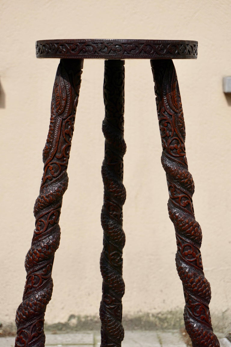 Carved Pedestal Table, India For Sale 8
