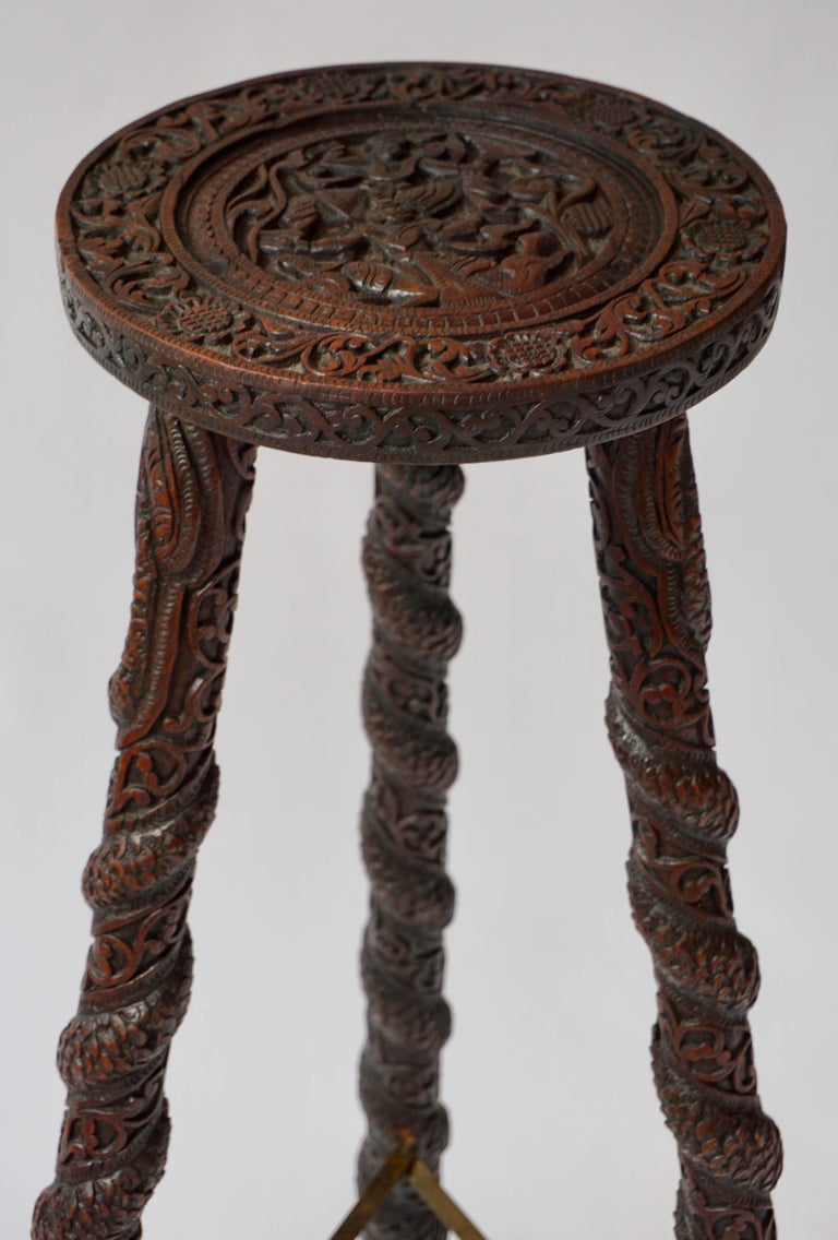 20th Century Carved Pedestal Table, India For Sale